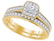 0.50 CTW Diamond 14k Yellow Gold Womens Princess Diamond Bridal Wedding Engagement Ring Band Set