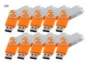 Enfain® 10 x 10Pcs USB 2.0 Flash Drive Memory Stick Fold Storage Thumb Stick Pen Swivel Design (32GB, Orange)
