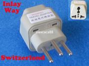 Universal UK EURO AUS USA to Swiss Switzerland Travel Adapter AC Power Plug
