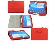 VIIGOOTECH Red PU Leather Case Cover Stand for Samsung Galaxy Tab 3 10.1 Inch P5200 Tablet (with Flip Stand, Integrated Elastic Hand Strap, Stylus Loop, Card Ho