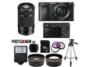 Sony Alpha A6000 Mirrorless Digital Camera with 16-50mm Lens (Black) With Sony SEL55210 55-210mm Lens (Black) Essential Bundle