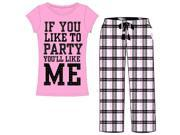 """Emme Jordan Cotton 2-Piece Long Ladies Pajama Set: Printed T-Shirt and Fluffy Pants - """"If You Like To Party"""""""
