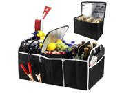 Extra Large Auto Trunk Organizer with 3 Folding Collapsable Compartments & Removable Cooler