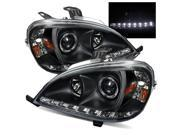 For 02-05 Mercedes W163 ML320/ML350/ML500 Black DRL LED Projector Headlights