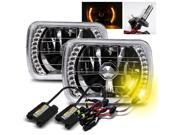 Modifystreet® 3000K H4-2 HID + Yellow LED Ring H6014/H6052/H6054 7x6 Semi-Sealed Beam Headlights Conversion Kit - Chrome Crystal