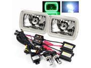 Modifystreet® 8000K H4-3 Bi-Xenon Hi/Low HID + Hi-Power Green SMD 3D Tube H6014/H6052/H6054 7x6 Semi-Sealed Beam Headlights Conversion Kit - Chrome Crystal