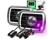 Modifystreet® 12000K H4-2 HID + Hi-Power Green LED 3D-Halo Tube H6014/H6052/H6054 7x6 Semi-Sealed Beam Projector Headlights Conversion Kit - Black Housing