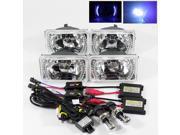 Modifystreet® 10000K H4-3 Bi-Xenon Hi/Low HID + 4PC Blue LED Ring H4651/H4652/H4656/H4666 4x6 Semi-Sealed Beam Headlights Conversion  - Chrome Crystal Diamond C