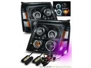 12000K HID For 02-06 Escalade (Halogen Type) CCFL Halo Projector Headlights Black
