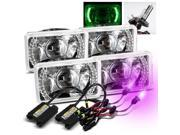 Modifystreet® 12000K H4-2 HID + 4PC Green LED Ring H4651/H4652/H4656/H4666 4x6 Semi-Sealed Beam Projector Headlights Conversion Kit - Chrome Crystal