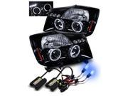 10000K HID/For 04-15 Nissan Titan Glossy Black Halo Projector Headlights Lamps