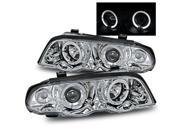 For 99-01 BMW E36 4DR Chrome Angel Eye Halo Projector Headlights 323/325/328/330
