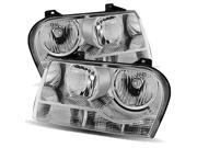 For 05-10 Chrysler 300 Halogen Type Stock Style Chrome Crystal Headlights Lamps