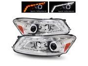 For 08-12 Honda Accord 4 Door Sedan Chrome Dual Halo Projector Headlights Lamps