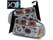 For 97-04 Dakota/98-03 Durango LED Angel Eye Halo Projector Headlights Chrome