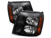 For 2002 Cadillac Escalade Halogen Type Black/Amber Crystal Headlights Lamps