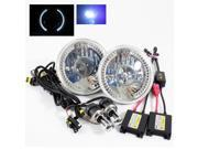 Modifystreet® 10000K H4-3 Bi-Xenon Hi/Low HID + White LED Ring H6014/H6015/H6017/H6052/H6024 7