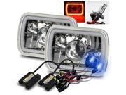 Modifystreet® 10000K H4-2 HID + Hi-Power Red LED 3D-Halo Tube H6014/H6052/H6054 7x6 Semi-Sealed Beam Projector Headlights Conversion Kit - Chrome Crystal
