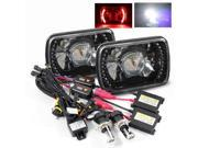 Modifystreet® 6000K H4-3 Bi-Xenon Hi/Low HID + Red LED Ring H6014/H6052/H6054 7x6 Semi-Sealed Beam Projector Headlights Conversion Kit - Black Crystal