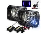 Modifystreet® 8000K H4-2 HID + Blue LED Ring H6014/H6052/H6054 7x6 Semi-Sealed Beam Projector Headlights Conversion Kit - Black Crystal
