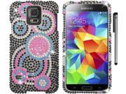 For Samsung Galaxy S5 Full Diamond Bling Design Hard Phone Protector Cover Case Accessory with Stylus Pen 9SIA4MS1HF6733