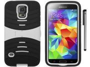 For Samsung Galaxy S5 Rugged Arched Design Armor Kickstand Phone Protector Cover Case with Stylus Pen 9SIA4MS1HK7259