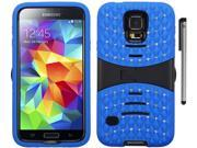 For Samsung Galaxy S5 Studded Diamond Rugged Arched Design Armor Kickstand Phone Protector Cover Case Accessory with Stylus Pen 9SIA4MS1M90883