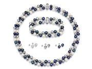 """La Regis Jewelry SNB3E-320-07 Sterling Silver 925 6-7mm 2 Rows Cultured Freshwater Pearl Multi Color Necklace 18"""" Length, 7.25"""" Length Bracelet, and 3 Pairs Earring"""
