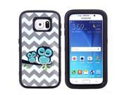 JNTworld 3 in 1 High Impact PC+TPU Hybrid Wavy stripes & Cute Owl Pattern Shockproof Tough Armor Heavy Duty Rugged Bumper Protective Case Cover Shell for Samsung Galaxy S6