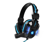 CORN Comfortable LED 3.5mm Stereo Gaming LED Lighting Over-Ear Headphone Headset Headband with Mic for PC Computer Game With Noise Cancelling & Volume Control (Blue)