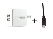 OMNIHIL 2-Port USB Charger & Micro-USB Cord for LG Optimus 3D P920