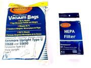 9 Kenmore Upright 50688 and 50690, Panasonic Type U-2 Vacuum Bags Microfiltration with Closure (9 Bags & 1 EF1 Filter)