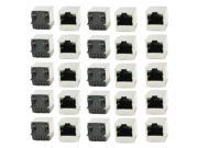 Unique Bargains PCB Mount 0 Angle Pins LED Pilot Light RJ45 8P8C Modular Network Jacks 25Pcs