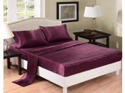 Honeymoon Super Soft Solid Satin 4PC Bedding Sheet Set - Queen Size - Purple