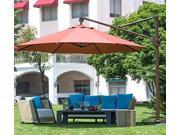 Abba Patio 11 ft Deluxe Octagon Offset Cantilever Patio Umbrella , Outdoor Hanging Canopy with Vertical Tilt and Cross Base, Dark RED