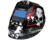 "Radnor DV Series Black, White And Red Welding Helmet With 5 1/4"" X 4 1/2"" DV48 Variable Shade 5-14 Auto-Darkening Lens And Skull Graphics"