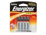 Energizer Eveready MAX 1.5 Volt AAA Alkaline Battery With Flat Contact Terminal (4 Per Card)