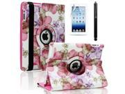 For The New iPad 2 3 4 360 Rotating PU Leather Case Smart Cover Flower Pink