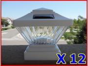 Set of 12 White Color Square Solar Light Post Cap 4x4 PVC Fence Style