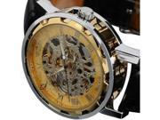 Classic Men's Gold Dial Skeleton Black Leather Mechanical Sport Army Wrist Watch 9SIA4UB5178230