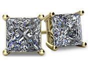 Image of 1.00tcw 14 Karat Yellow Gold Screwback Princess Cut Certified SI3, HI Diamond Earrings