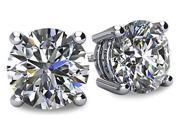 Image of 0.33tcw 14 Karat White Gold Screwback Round Brilliant Cut Certified I1 - I2, HI Diamond Earrings