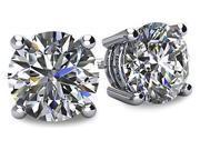 Image of 0.60tcw 14 Karat Platinum Screwback Round Brilliant Cut Diamond Earrings