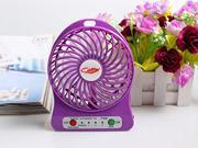 4-inch 3 Speeds Portable Mini USB Fan Electric Powered Rechargeable Desktop Fan Battery/ USB Powered Laptop Cooler Cooling Operated Cool Cooler Fan w/ Rechargeable Battery and USB Charge Cable-Purple