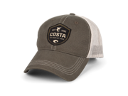 Costa Shield Trucker Hat. Moss/Stone. Embroidered Costa Logo. Adjustable cap with Velcro closure.
