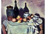 "Paul Cezanne Still Life - Post, Bottle, Cup and Fruit - 16"""" x 20"""" Premium Canvas Print"" 9SIA4Y21K77405"