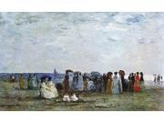 """Eugene-Louis Boudin Bathers on the Beach at Trouville - 16"""""""" x 24"""""""" Premium Canvas Print"""" 9SIA4Y21K89200"""