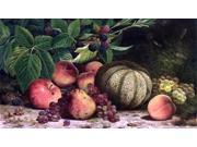 "William Mason Brown Still Life with Melon, Grapes, Peaches, Pears and Black Raspberries - 14"""" x 28"""" Premium Canvas Print"" 9SIA4Y21KA1859"