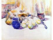 """Paul Cezanne Blue Pot and Bottle of Wine (also known as Still Life with Pears and Apples, Covered Blue Jar, and a Bottle of Wine) - 16"""""""" x 20"""""""" Premium Canvas Pri"""" 9SIA4Y21K96490"""