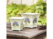 Cream Colored Square Metal Planters with Hydrangea Motif Set of Two